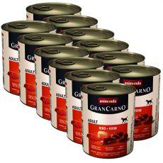 Konzerva GranCarno Original Adult hovězí maso a kuře - 12 x 800 g