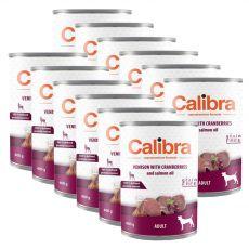 Konzerva Calibra Dog Adult Grain Free - Zvěřina s brusinkami a s lososovým olejem, 12 x 400 g