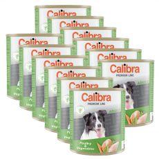 Konzerva CALIBRA Premium Adult – drůbež a zelenina, 12 x 800 g