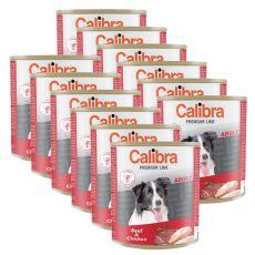 Konzerva CALIBRA Premium Adult – hovězí a kuře, 12 x 800 g