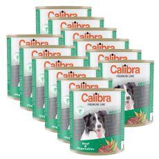 Konzerva CALIBRA Premium Adult – hovězí a zelenina, 12 x 800 g