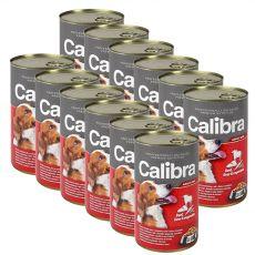 Konzerva Calibra Dog Adult hovězí, játra a zelenina v želé, 12 x 1240 g