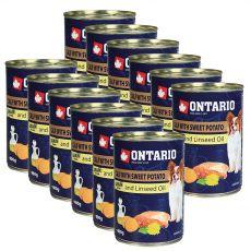Konzerva ONTARIO Telecí se sladkým bramborem a lněným olejem – 12 x 400 g