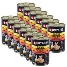 Konzerva ONTARIO Puppy pro psa, kuřecí, rýže a olej - 12 x 400 g