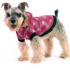 Bunda pro psa - károvaná, růžová, XS