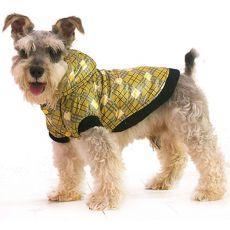 Bunda pro psa - károvaná, žlutá, S