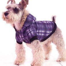 Bunda pro psa - károvaná, fialová, XL