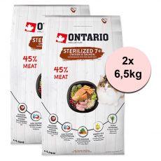 Ontario Cat Sterilised 7+, 2 x 6,5 kg
