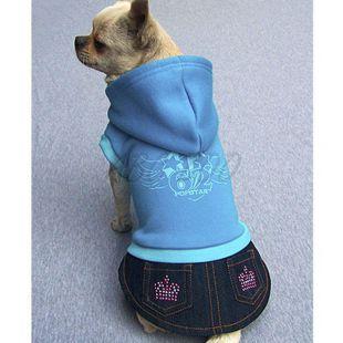 Mikina s riflovou sukýnkou pro psa - modrá, XL