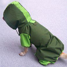 Pláštěnka pro psa na 4 tlapky - olivově - hrášková, S