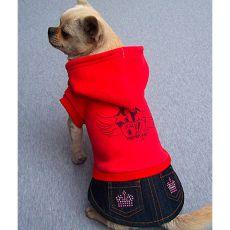 Mikina s riflovou sukní pro pejska - červená, XXL