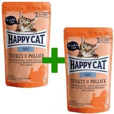 Kapsička Happy Cat ALL MEAT Adult Turkey & Pollack 85 g 1+1 ZDARMA