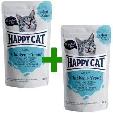 Kapsička Happy Cat MEAT IN SAUCE Adult Chicken & Trout 85 g 1+1 ZDARMA
