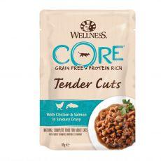Wellness CORE Tender Cuts kuře a losos 85 g