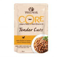 Wellness CORE Tender Cuts kuře a kuřecí játra 85 g
