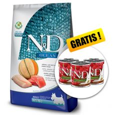 Farmina N&D dog OCEAN (GF) adult mini, salmon, cod & cantaloupe melon 7 kg + DÁREK