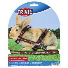 Postroj s vodítkem pro králíky - hnědý