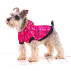Bunda pro psa - károvaná, růžová, L
