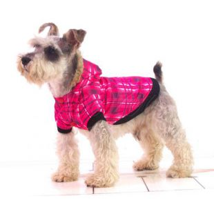 Bunda pro psa - károvaná, růžová,  XL