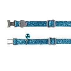 Obojek pro kočky, modré třpytky - 18–30 cm