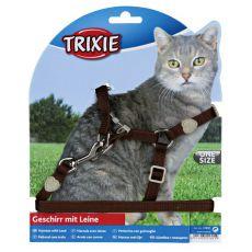 Postroj pro kočku s vodítkem, hnědý