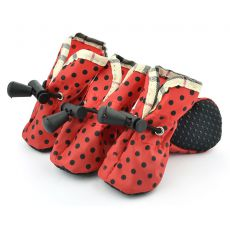 Boty pro psy červené, černé tečky - vel. 5