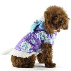 Bunda pro psa - fialová s kresleným beranem, L