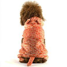 Overal pro psa - oranžový leopard s ocáskem, XXL
