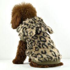 Kožíšek pro psy - leopard s kapucí, L