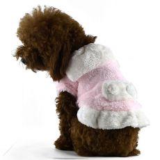Bunda pro psy - růžovo-bílá s límcem, XXL