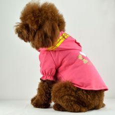 Tričko pro psy - růžové s kapucí a nápisem, XXL