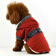 Kabát pro psy - puntíkovaný červený s kožešinkou, XL