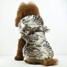 Kožíšek pro psy - tygr s kapucí, XL