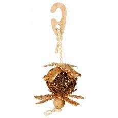 Proutěný míč se sisalovým lanem pro ptáky 5,5 cm