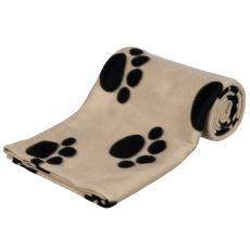 Deka pro psy a kočky - béžová s tlapkou, 150 x 100 cm