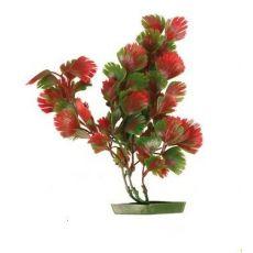 Rostlinka do akvária - plastová, 17 cm červenozelené listy