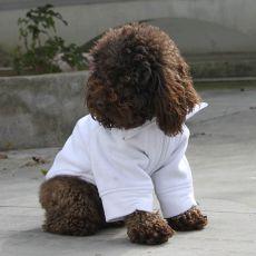 Mikina pro psa se zipem - bílá, M