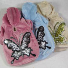 Mikina pro psy s motýlem - semišová, modrá, XL