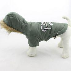 Větrovka pro psa s kapucí - olivová, XXL