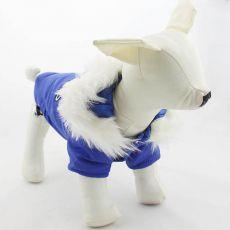 Větrovka pro psa s kapucí - modrá, L