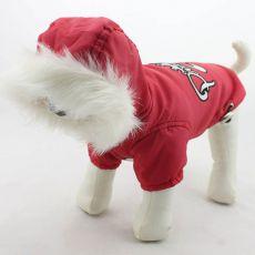 Větrovka pro psa s kapucí - červená, S