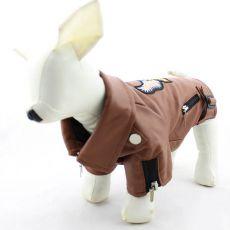 Koženka pro psy - hnědá s orlem, XL