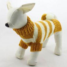Svetr pro psy - pletený žluto-bílý, L