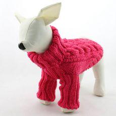 Svetr pro psy - pletený, tmavě růžový, L