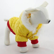 Větrovka pro psa - červenožlutá s kapucí, L