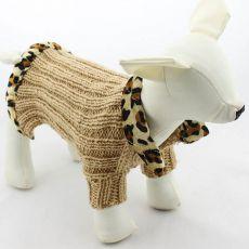Svetr pro psy - pletený hnědý leopard, L