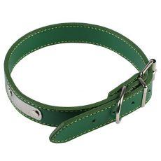 Koženkový obojek pro psa - zelený, 35 cm