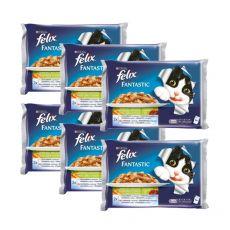 Kapsičky pro kočky FELIX - maso se zeleninou, 6 x 400 g