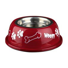 Miska pro psa s plastovým okrajem, červená - 0,45 l