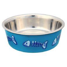 Nerezová miska modrá s plastovým potahem - 0,3 l, 12 cm